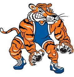 Tiger sports logo mascot wrestling vector