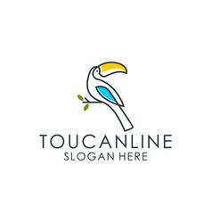 Toucan bird logo line art vector