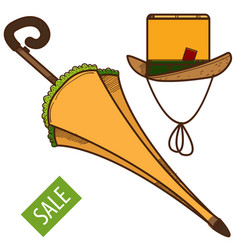 umbrella and hat vintage things sales logo vector image