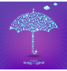 Umbrella with drops vector image
