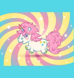 Unicorn with stars in kawaii style vector