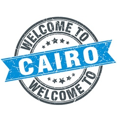 Welcome to Cairo blue round vintage stamp vector