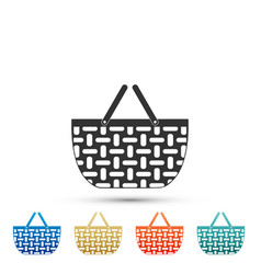 wicker basket icon isolated shopping basket vector image