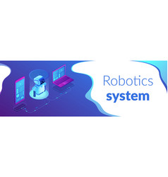 Wifi controlled robotics isometric 3d banner vector