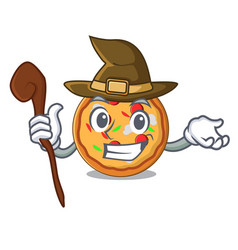 witch pizza mascot cartoon style vector image