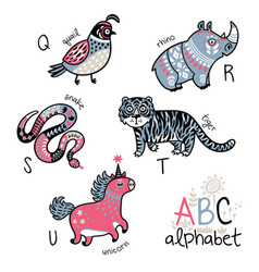 animals alphabet q - u for children vector image