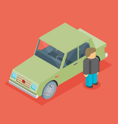 car isometric with man vector image vector image