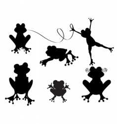 cute frogs silhouette vector image vector image