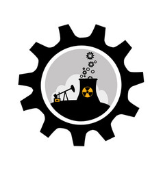 gear wheel border with background silhouette oil vector image vector image