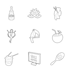Tourism in Brazil icons set outline style vector image vector image