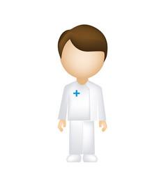 color sticker man paramedic icon vector image