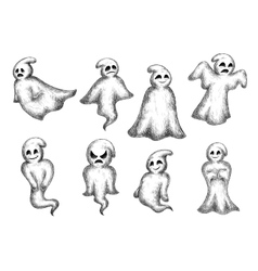 Halloween cartoon eerie white ghosts vector image vector image