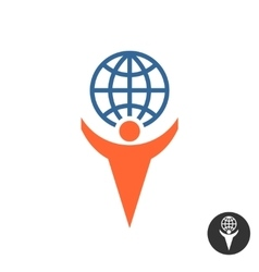 Man holding globe logo vector image