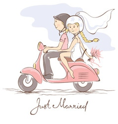 Newlyweds on a scooter vector image vector image