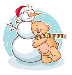 teddy and snowman vector image vector image