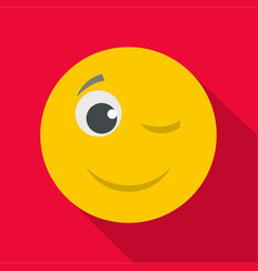 winks smile icon flat vector image