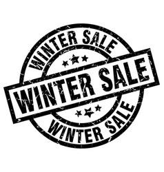 winter sale round grunge black stamp vector image vector image