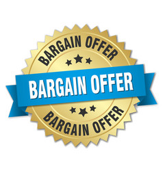 Bargain offer 3d gold badge with blue ribbon vector