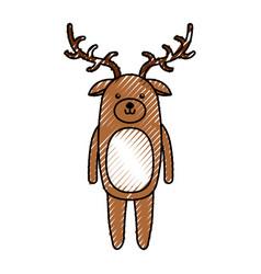 Cute scribble deer cartoon vector