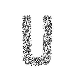 letters floral u vector image vector image