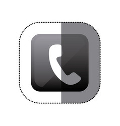 sticker black square with phone icon vector image