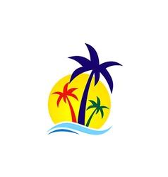 beach palm tree travel logo vector image