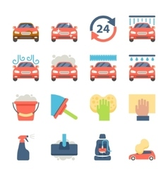 Car wash auto cleaner washer shower service icons vector image