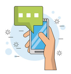 color background with hand holding smartphone with vector image vector image
