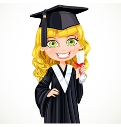 Cute girl in cap holding a scroll diploma vector image