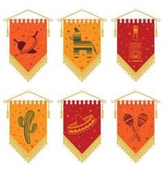 mexican pennants vector image vector image