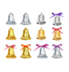 Set of gold and silver christmas bells with vector