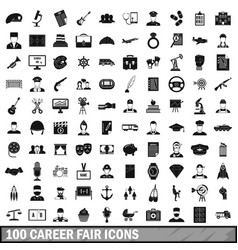 100 career fair icons set simple style vector