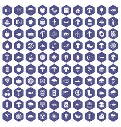 100 mushrooms icons hexagon purple vector