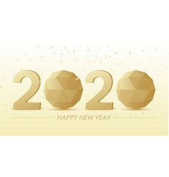3d golden 2020 text with polygon sphere on white vector image
