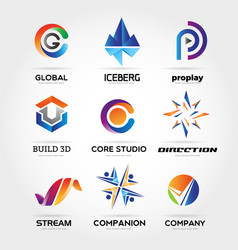 abstract colorful business logo set sign symbol vector image