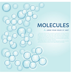 abstract molecules design gloss blue particles vector image