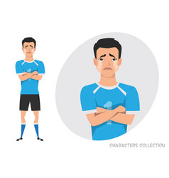 asian football player crossed his arms and cries vector image