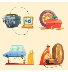 Auto Service Retro Cartoon Icon Set vector image