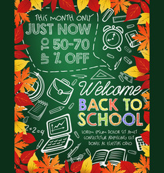 back to school sale banner on chalkboard with leaf vector image