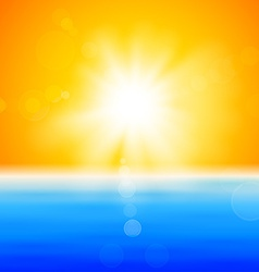 Background with shiny sun over the sea vector