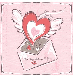 background with valentine hearts and envelope vector image