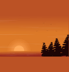 Beauty landscape of lake with spruce silhouettes vector