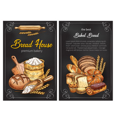 bread sketch posters for premium bakery vector image