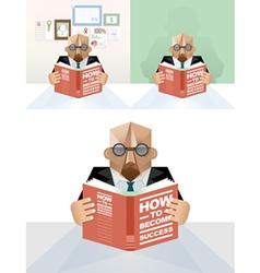 Businessman reading a book concept vector image