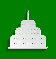 cake with candle sign paper whitish icon vector image