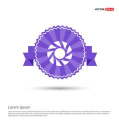 camera shutter icon - purple ribbon banner vector image