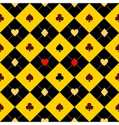Card suits yellow black diamond background vector