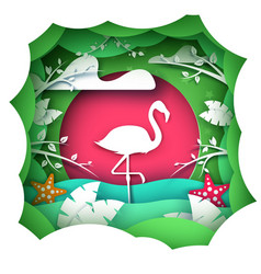 cartoon paper landscape flamingo characters vector image