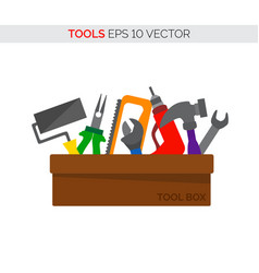 cartoon tool box repair and carpentry tools vector image