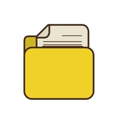 Cartoon yellow folder file document report paper vector